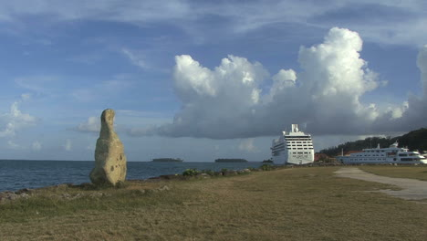 Raiatea-stone-by-sea-and-cruise-ship