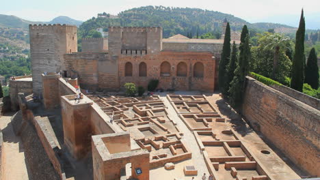 Spain-Andalucia-Alhambra-maze-walls-and-notched-tower