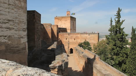 Spain-Andalucia-Alhambra-walkway-wall-and-blocky-tower-10