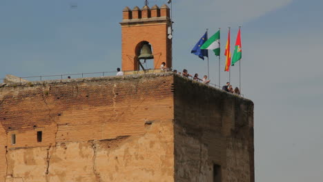 Spain-Andalucia-Alhambra-flags-bell-tower-and-observers