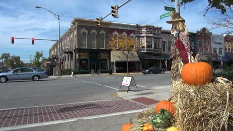 Indiana-Goshen-street-with-pumpkin-sx
