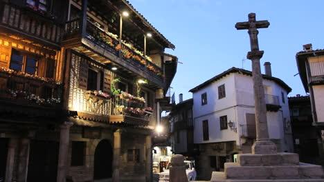 Spain-La-Alberca-plaza-pillar-in-evening