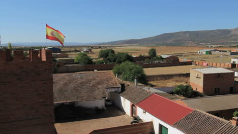 Spain-Castile-Calzada-de-Calatrava-flag-in-breeze