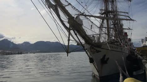 Argentina-Ushuaia-sailing-ship-bow-rigging-and-mountains