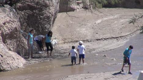 Chile-Atacama-Toconao-wading-in-stream-near-rock