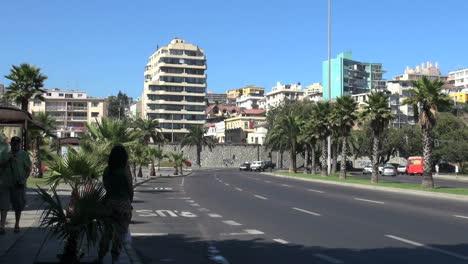 Chile-Viña-Del-Mar-Mujer-En-Sombra-Y-Palmeras-En-La-Carretera-De-Curvas