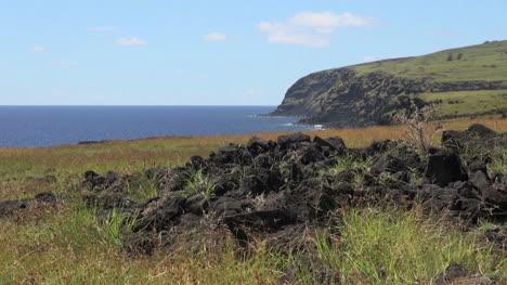 Easter-Island-east-coast-dark-cliffs-and-volcanic-rock-1