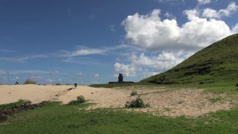 Easter-Island-Anakena-Ahu-Ature-Huke-lone-moai-over-sand-13a