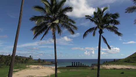 Easter-Island-Anakena-Ahu-Nau-Nau-moai-sand-and-palms-1