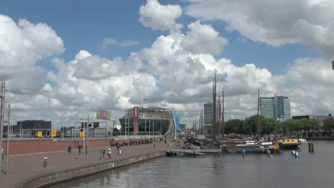 Netherlands-Amsterdam-walkway-to-nemo-and-tall-masts