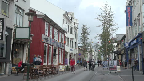 Iceland-Reykjavik-street-with-tree-at-end-and-bicycles