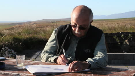 Iceland-Heraosvotn-man-writing-with-windy-savannah-behind