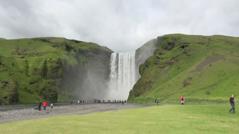 Iceland-Skogafoss-waterfall-between-cliffs