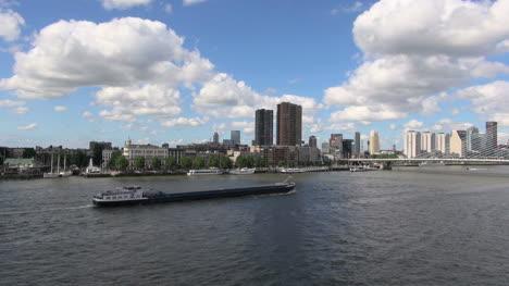 Netherlands-Rotterdam-barge-chugs-toward-bridge-3