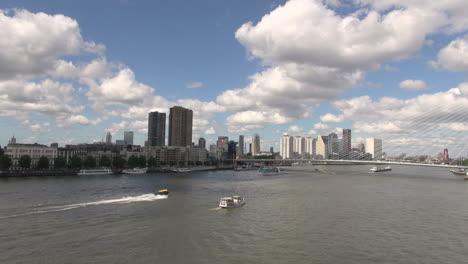 Netherlands-Rotterdam-river-traffic-near-Erasmus-bridge