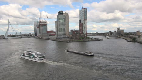 Netherlands-Rotterdam-two-ships-at-branch-of-the-Maas