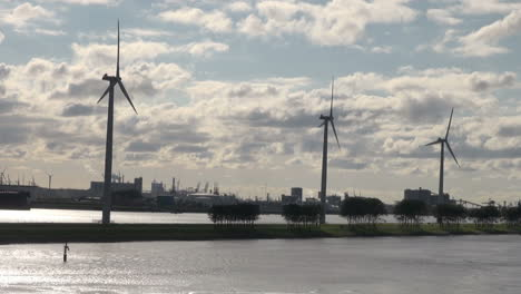 Netherlands-Rotterdam-three-windmills-on-green-strip