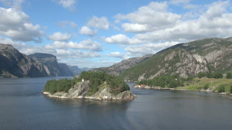 Norway-Lysefjord-island-lighthouse-and-fjord-view-s