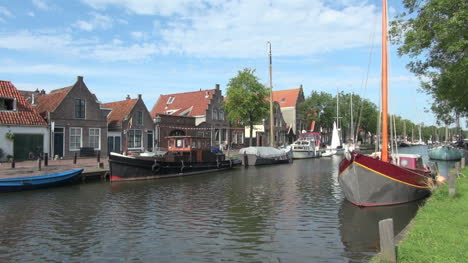 Netherlands-Edam-boat-tall-mast-on-canal-2