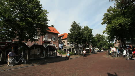 Netherlands-Bergen-bicycle-traffic-on-brick-cobble