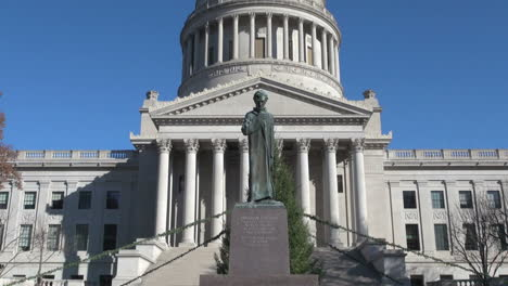 West-Virginia-Charleston,-capitol,-and-Lincoln-statue-zoom