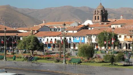 Peru-Cusco-traffic-and-plaza-with-church-c