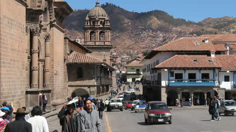 Cusco-street-by-plaza-and-church