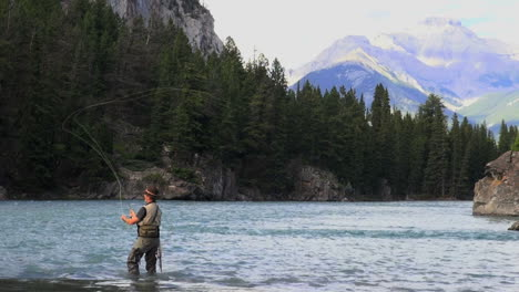 Canada-Alberta-Banff-Bow-River-fisherman-casting-and-mountain-3