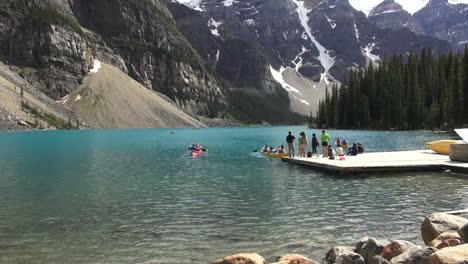 Canada-Alberta-Lake-Moraine-canoes-and-dock-s