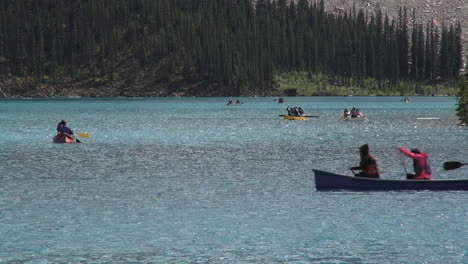 Canada-Alberta-Lake-Moraine-canoe-crosses-s