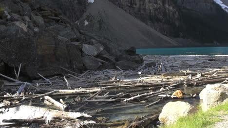 Canada-Alberta-log-jam-at-Moraine-Lake