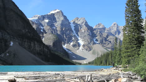 Canadian-Rockies-Banff-Moraine-Lake-view-of-peaks-driftwood-at-bottom