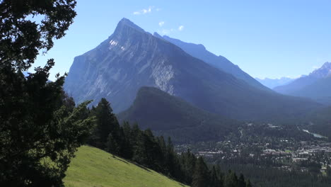 Canada-Banff-view-of-town-&-Tunnel-Mountain