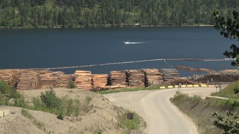 British-Columbia-Adams-Lake-logs-and-boat