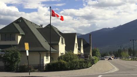 Canada-Alberta-Jasper-train-station-and-flag