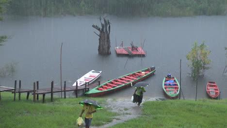 Amazon-rain-on-stream-with-canoes