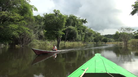 Amazon-passing-canoe-on-jungle-stream