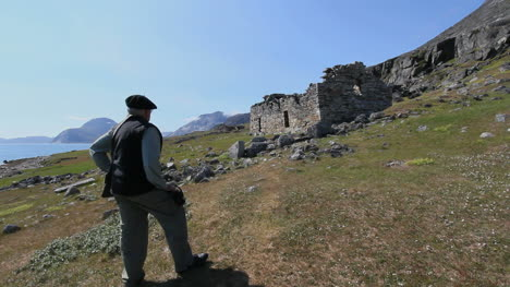 Greenland-Hvalso-Nordic-church-ruin-with-man