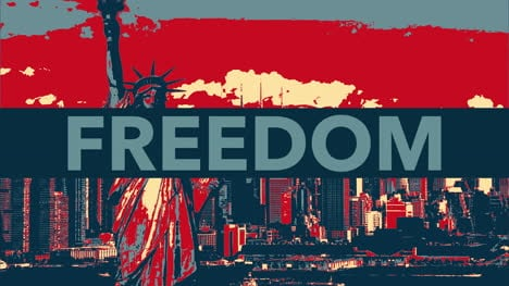 Animated-closeup-text-Freedom-on-holiday-background