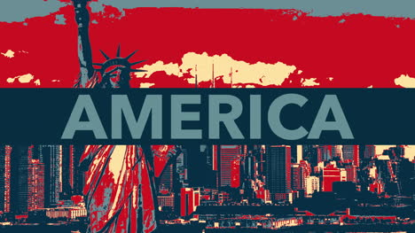 Animated-closeup-text-America-on-holiday-background