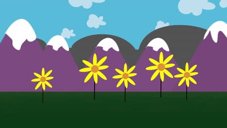 Cartoon-animation-background-with-flowers-and-mountain