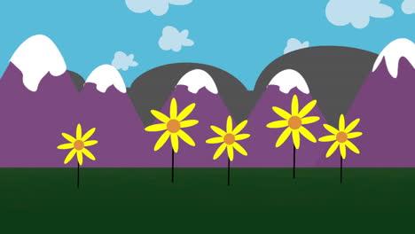 Fondo-De-Animación-De-Dibujos-Animados-Con-Flores-Y-Montaña-Fondo-De-Animación-De-Dibujos-Animados-Con-Flores-Y-Montaña-