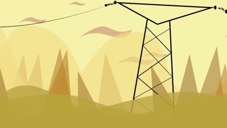Cartoon-animation-background-with-motion-clouds-and-power-line-1