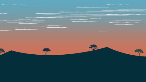Cartoon-animation-background-with-sunset-and-mountain