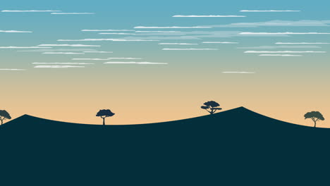 Cartoon-animation-background-with-sunset-and-mountain-1