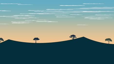 Fondo-De-Animación-De-Dibujos-Animados-Con-Atardecer-Y-Montaña-1