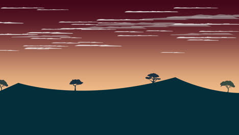 Cartoon-animation-background-with-sunset-and-mountain-2