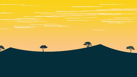 Cartoon-animation-background-with-sunset-and-mountain-3