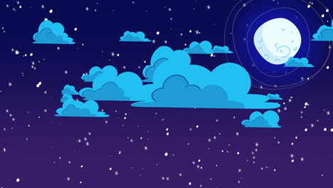 Cartoon-animation-background-with-motion-clouds-and-moon