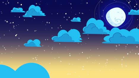 Cartoon-animation-background-with-motion-clouds-and-moon-2